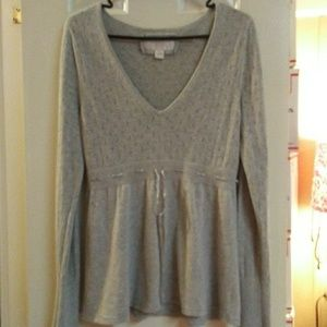 American Eagle Soft Gray Sweater With Ribbon Tie